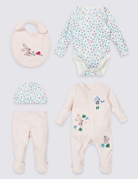 5 Piece Pure Cotton Newborn Essential Set