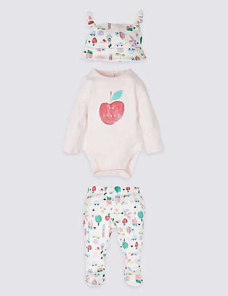 3 Piece Pure Cotton Bodysuit & Leggings with Hat