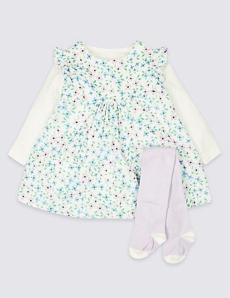 3 Piece Dress & Bodysuit with Tights