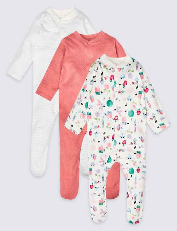 b15da8f2d6 3 Pack Pure Cotton Sleepsuits