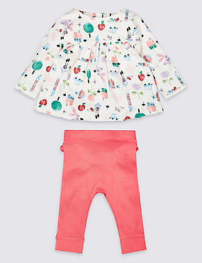 2 Piece Pure Cotton Frill Top & Leggings Outfit