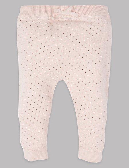 Pure Cotton Pointelle Knit Leggings