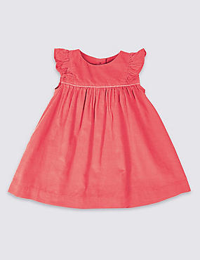 Pure Cotton Cord Frill Sleeve Dress