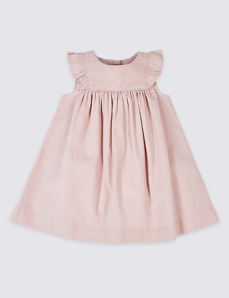 Pure Cotton Frill Sleeve Spotted Dress
