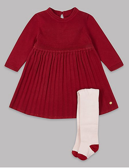 Knitted Dress & Tights Outfit