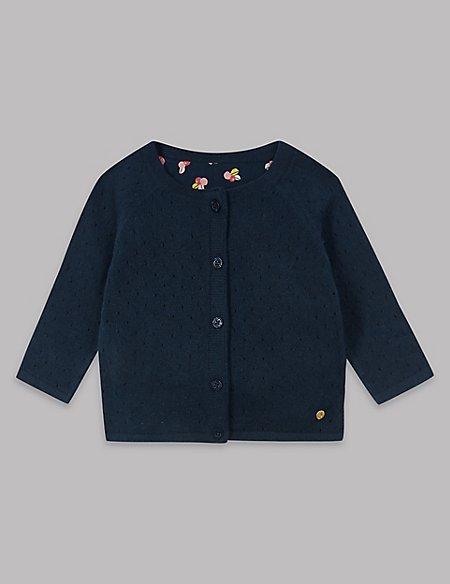 Cotton Rich Woven Panel Cardigan