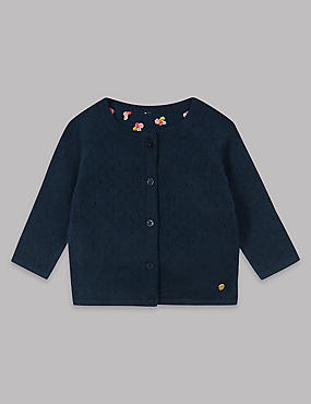 Cotton Rich Woven Panel Cardigan