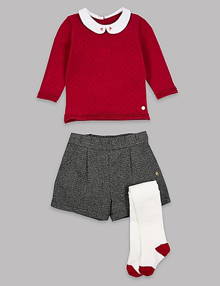 3 Piece Cardigan & Shorts with Tights