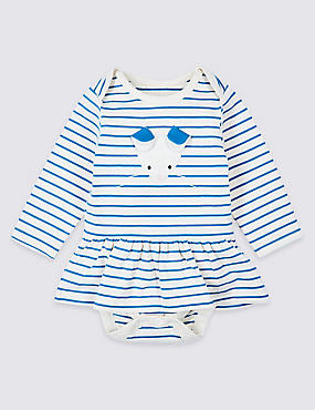Cotton Striped Dress with Stretch