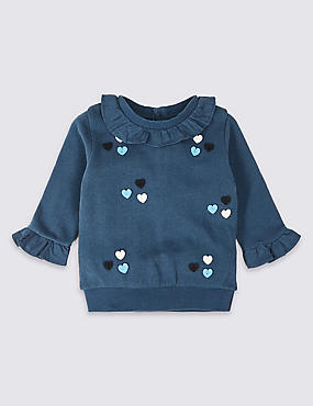 Pure Cotton Frill Sweatshirt