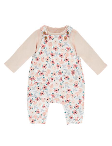 2 Piece Cotton Dungarees & Bodysuit Outfit