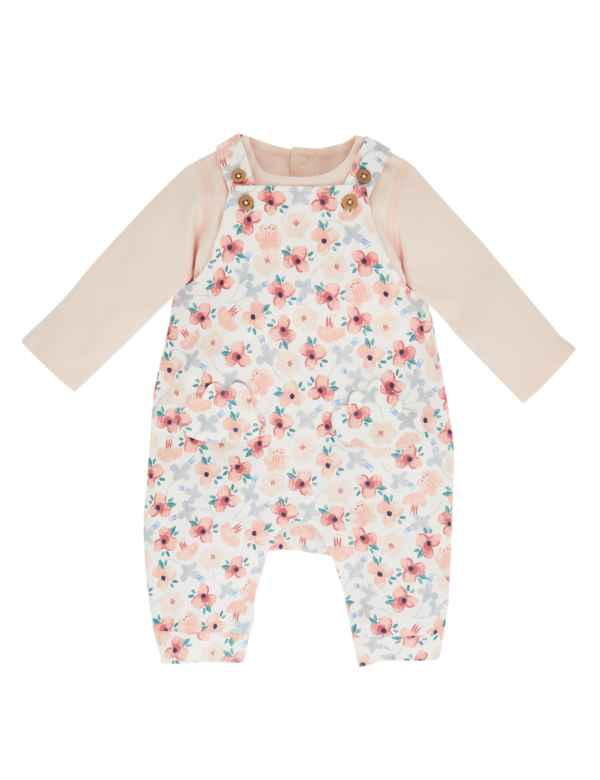 9acafe3778dde 2 Piece Cotton Dungarees & Bodysuit Outfit