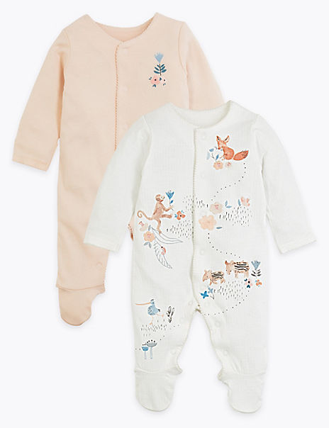 2 Pack Cotton Floral Sleepsuits