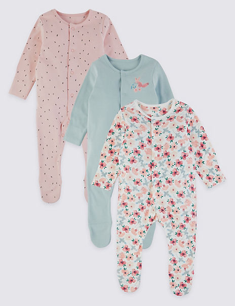 3 Pack Organic Cotton Floral Sleepsuits