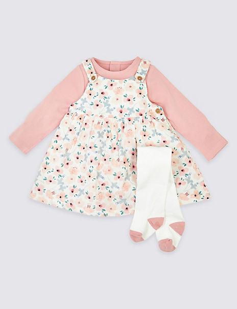 3 Piece Cotton Floral Print Dress Outfit