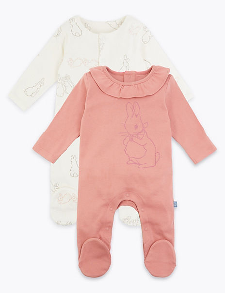 2 Pack Cotton Peter Rabbit™ Sleepsuits