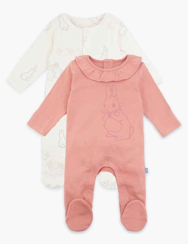 Ex Store Baby Girls Pink Stripe Spotty 2 Pack Sleepsuits Babygrow N//B 3//6 Mths