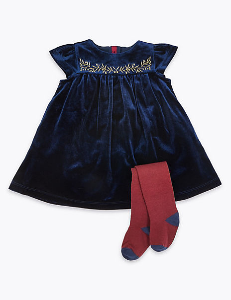 2 Piece Velvet Dress With Tights
