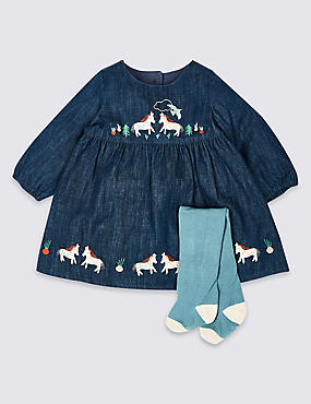 2 Piece Denim Dress with Tights Outfit