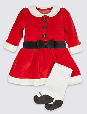 2 Piece Velour Mrs Clause Dress with Tights, RED, catlanding
