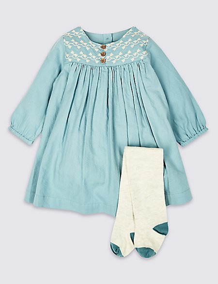 2 Piece Embroidered Dress with Tights Outfit