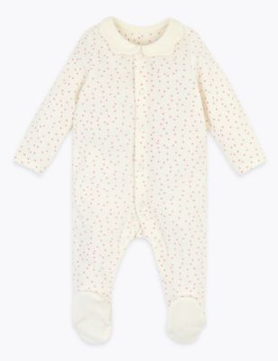 Velour spot sleepsuit with scallop collar