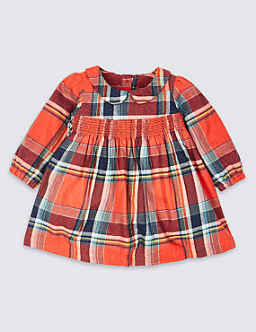 Pure Cotton Checked Dress