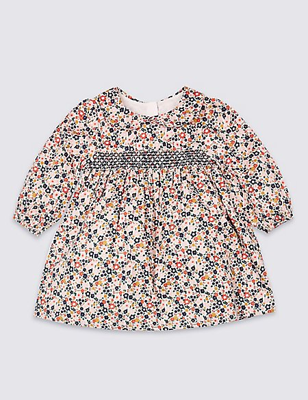 Pure Cotton All Over Floral Print Dress