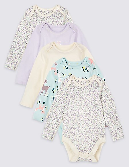 5 Pack Pure Cotton Woodland Bodysuits