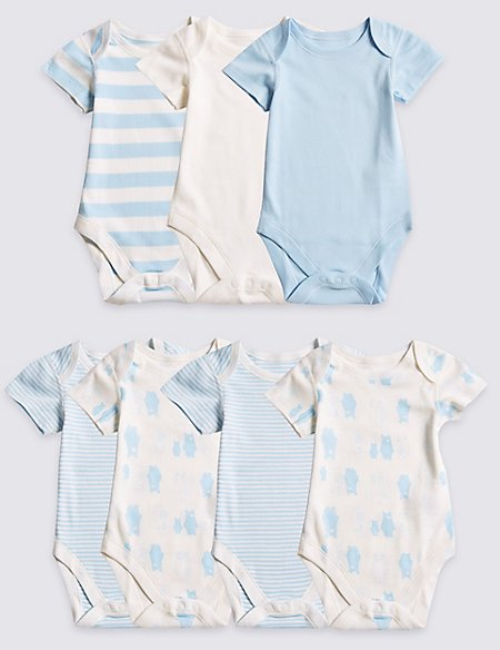 7 Pack Boys' Bear Short Sleeve Bodysuits
