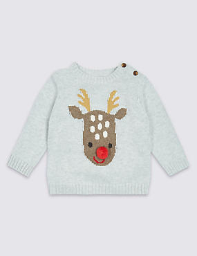 Pure Cotton Reindeer Knitted Jumper