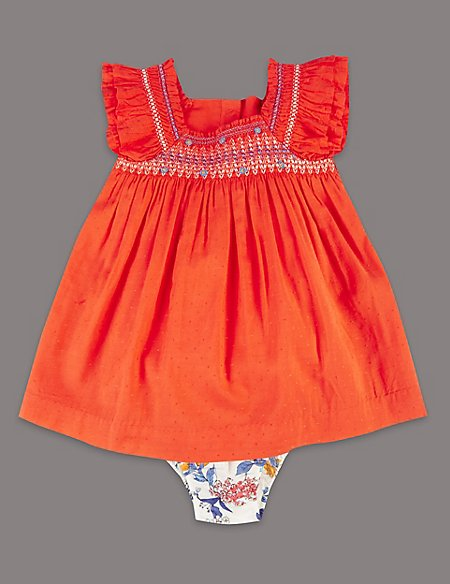 2 Piece Embroidered Dress with Knickers
