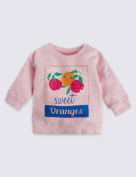 Pure Cotton Sweet Oranges Slogan Jumper