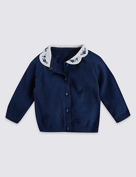 Cotton Rich Collared Cardigan with Cashmere