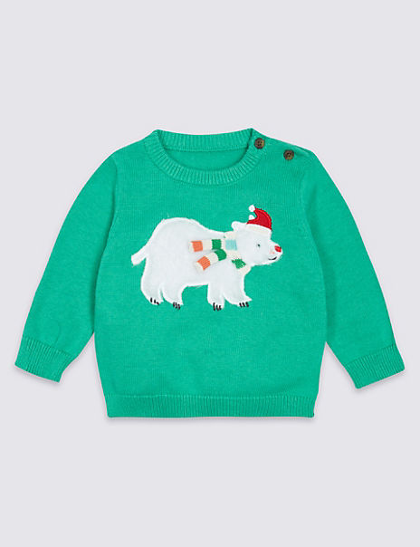Pure Cotton Polar Bear Christmas Jumper