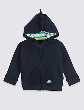 Pure Cotton Dinosaur Baby Hooded Top