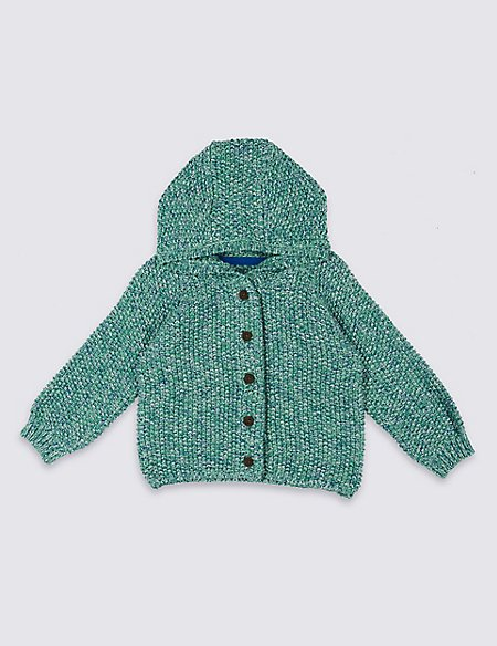 Pure Cotton Hooded Cardigan