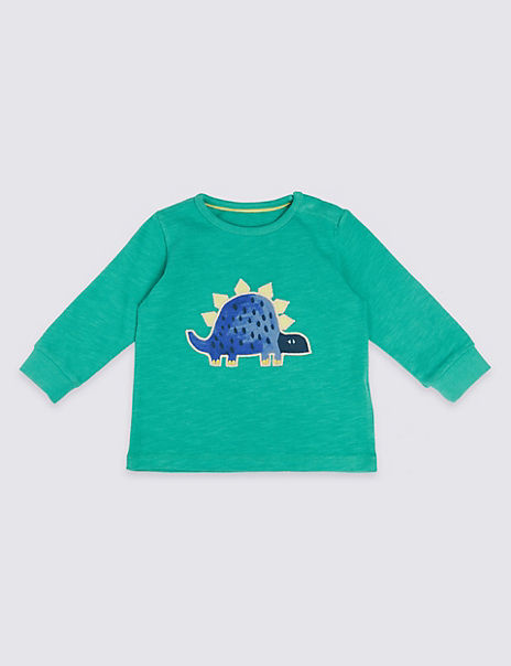 Pure Cotton Dinosaur Applique T-Shirt