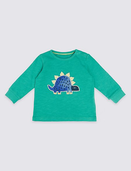Pure Cotton Dinosaur Applique T-Shirt