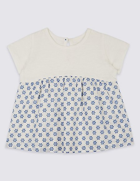 Pure Cotton Floral Embroidered T-Shirt