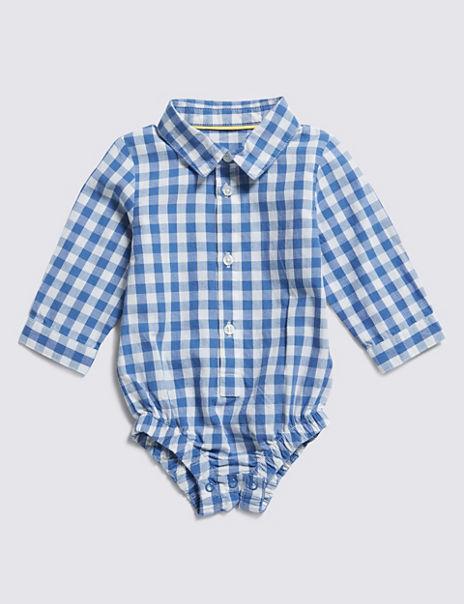 Pure Cotton Checked Bodysuit