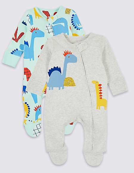 2 Pack Zip Through Dinosaurs Sleepsuits