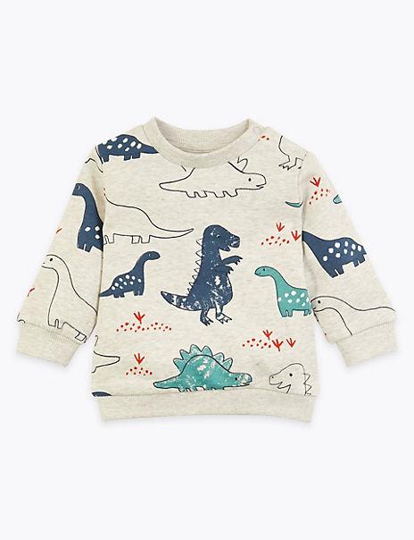 Cotton Rich Dinosaur Print Sweatshirt (0 - 3 Yrs)