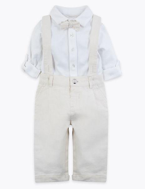 3 Piece Cotton Rich Bodysuit & Trousers Outfit