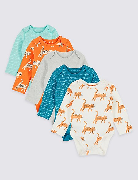 5 Pack Organic Cotton Tiger Bodysuits