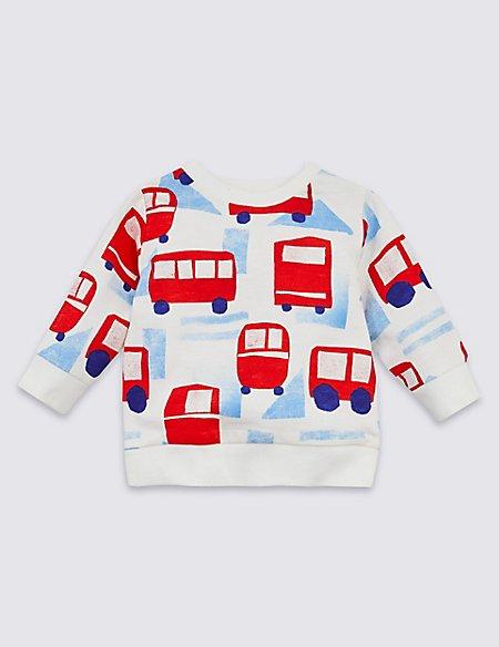 Pure Cotton All Over Bus Print Sweatshirt