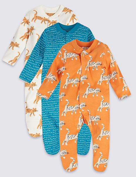 3 Pack Organic Cotton Tiger Sleepsuits