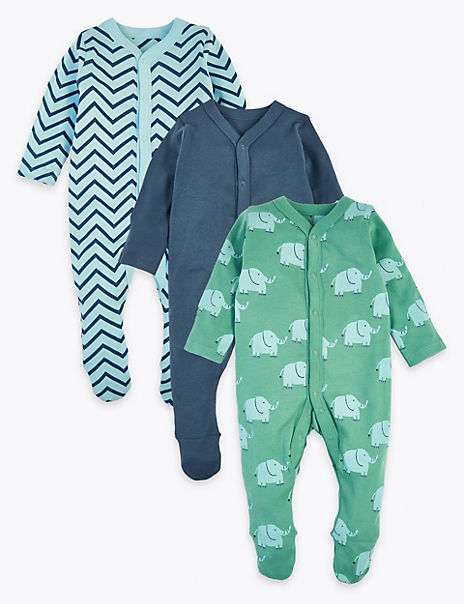 3 Pack Organic Cotton Sleepsuits (6½lbs-3 Yrs)