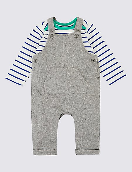 2 Piece Organic Cotton Dungarees & Bodysuit Outfit