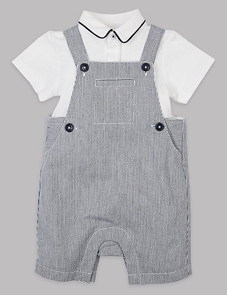 2 Piece Ticking Dungarees & Bodysuit Outfit